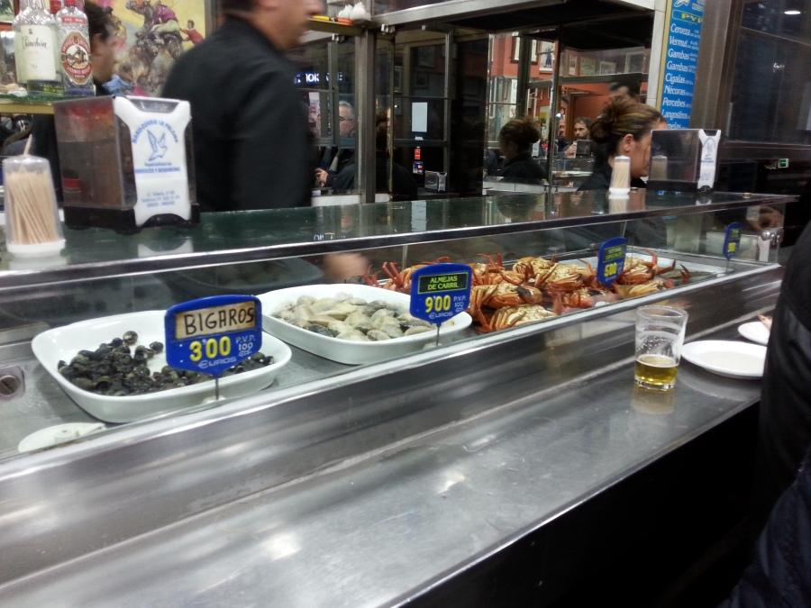Tällasia voi kans syödä. Kuva Bar Palomasta Calle Toledolla.