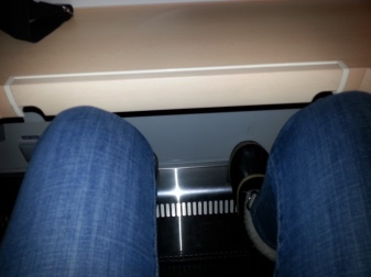 Polveni duetto-vaunussa normaalissa, joskin tavallista ryhdikkäämmässä, istuma-asennossa.